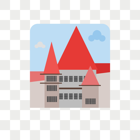 Bran castle vector icon isolated on transparent background, Bran castle logo concept