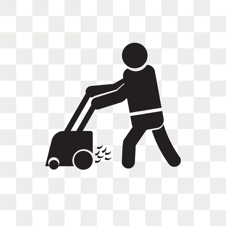 Person mowing the grass vector icon isolated on transparent background, Person mowing the grass logo concept