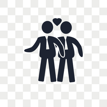 Gay Couple vector icon isolated on transparent background, Gay Couple logo concept