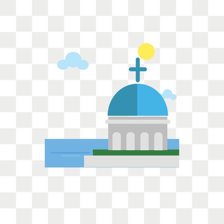 Icona di vettore della chiesa a cupola isolato su sfondo trasparente, concetto di logo della chiesa a cupola Logo