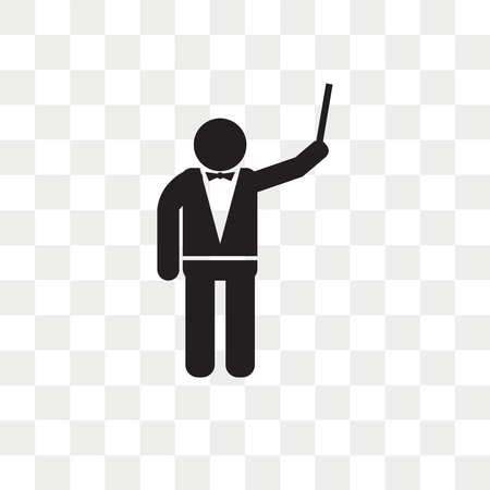 Icono de vector de director de orquesta aislado sobre fondo transparente, concepto de logo de director de orquesta Logos