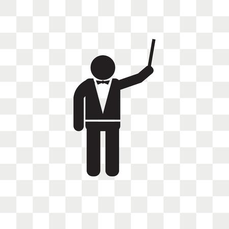 Orkiestra dyrektor wektor ikona na białym tle na przezroczystym tle, koncepcja logo dyrektora orkiestry Logo