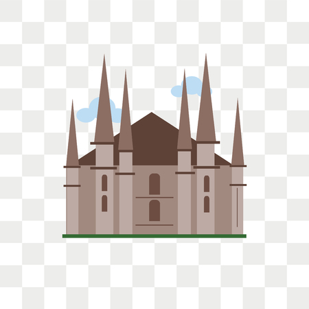 Milan cathedral vector icon isolated on transparent background, Milan cathedral logo concept 일러스트