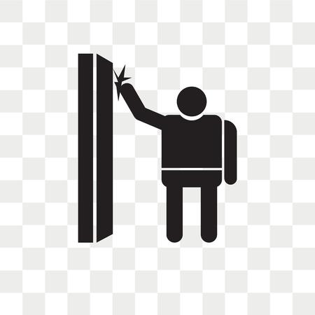 Homme frapper une icône de vecteur de porte isolé sur fond transparent, homme frapper un concept de logo de porte