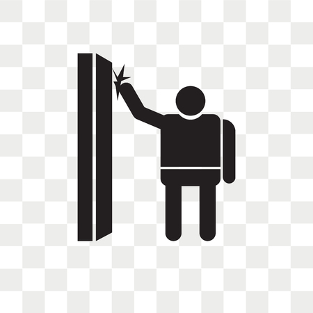 Hombre golpeando un icono de vector de puerta aislado sobre fondo transparente, hombre golpeando un concepto de logo de puerta