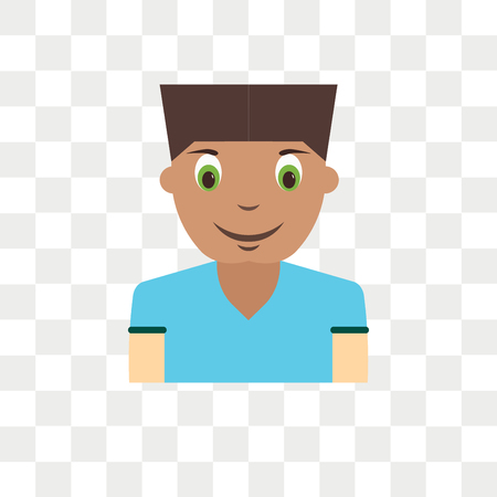 Icono de vector de avatar de niño niño aislado sobre fondo transparente, concepto de logo de avatar de niño niño