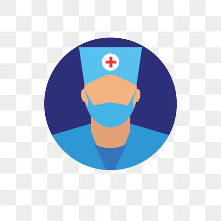 Surgeon vector icon isolated on transparent background, Surgeon logo concept Stock Illustratie
