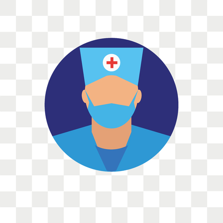 Surgeon vector icon isolated on transparent background, Surgeon logo concept Stock Illustratie