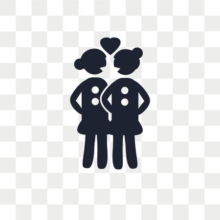 Lesbenpaar-Vektorikone lokalisiert auf transparentem Hintergrund, Lesbenpaar-Logo-Konzept