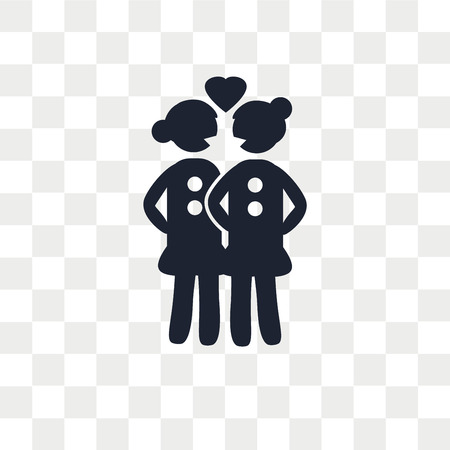Lesbian Couple vector icon isolated on transparent background, Lesbian Couple logo concept