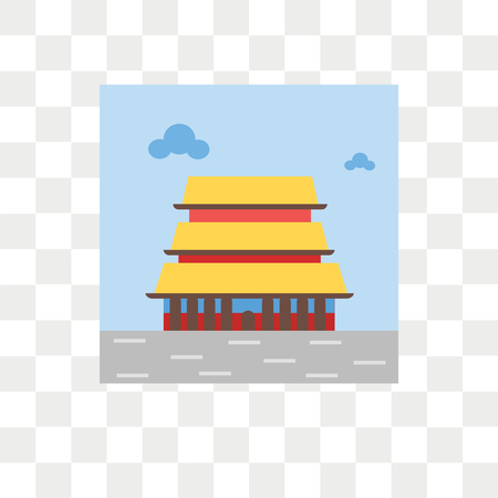 Forbidden city vector icon isolated on transparent background, Forbidden city logo concept Vettoriali