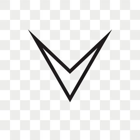 Icono de vector de flecha hacia abajo aislado sobre fondo transparente, concepto de logo de flecha hacia abajo