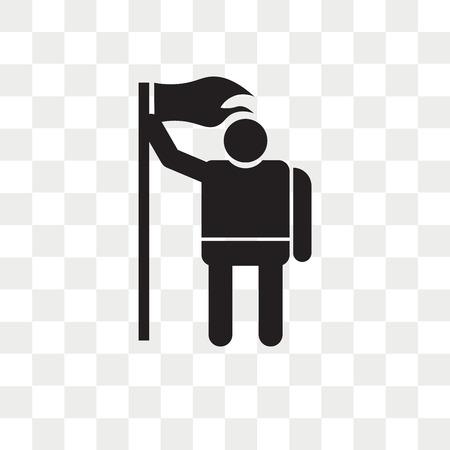 Mann, der ein Flaggenvektorsymbol lokalisiert auf transparentem Hintergrund hält, Mann, der ein Flaggenlogokonzept hält