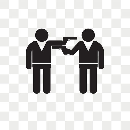 Two armed gangsters pointing each other with their arms vector icon isolated on transparent background, Two armed gangsters pointing each other with their arms logo concept