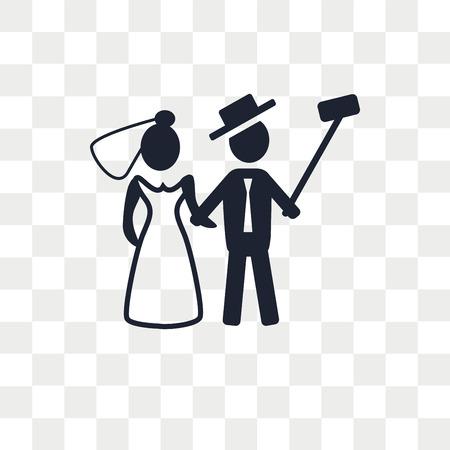 Icono de vector de recién casados aislado sobre fondo transparente, concepto de logo de recién casados