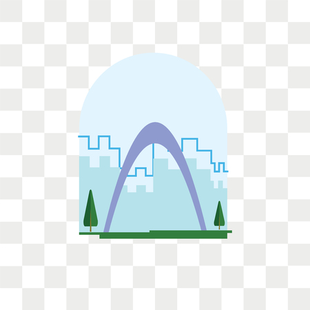 Gateway arch vector icon isolated on transparent background, Gateway arch logo concept