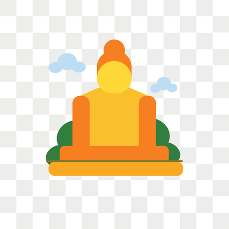 Great buddha of thailand vector icon isolated on transparent background, Great buddha of thailand logo concept
