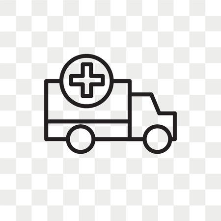 Krankenwagenvektorikone lokalisiert auf transparentem Hintergrund, Krankenwagenlogokonzept