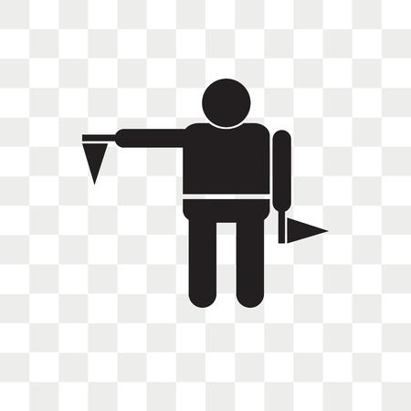 Flag semaphore language vector icon isolated on transparent background, Flag semaphore language logo concept Illustration