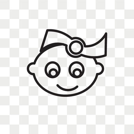 Baby meisje vector pictogram geïsoleerd op transparante achtergrond, baby meisje logo concept