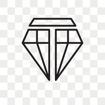 Diamond vector icon isolated on transparent background, Diamond logo concept Vectores