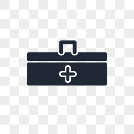 First aid kit vector icon isolated on transparent background, First aid kit logo concept