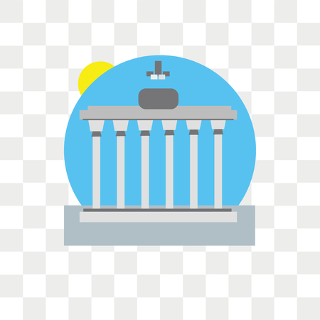 Brandenburg gate vector icon isolated on transparent background, Brandenburg gate logo concept