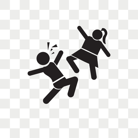 Girl Kicking a Boy in the face vector icon isolated on transparent background, Girl Kicking a Boy in the face logo concept