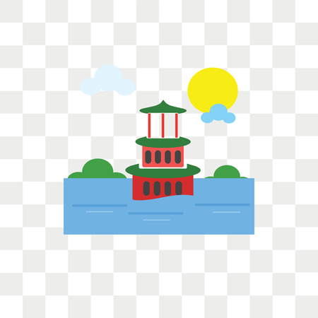 Summer palace vector icon isolated on transparent background, Summer palace logo concept