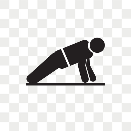 Man doing pushups vector icon isolated on transparent background, Man doing pushups logo concept
