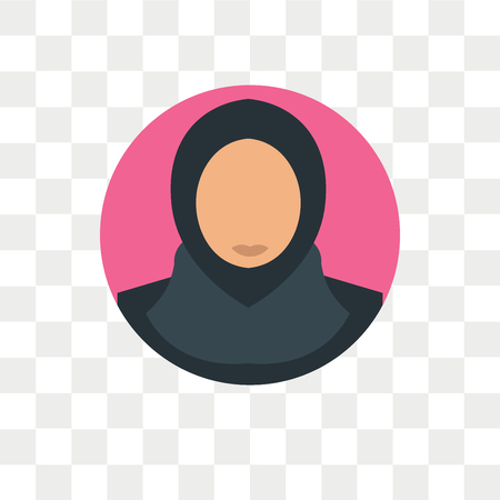 Arab woman vector icon isolated on transparent background, Arab woman logo concept