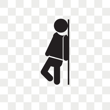 Man leaning against the wall vector icon isolated on transparent background, Man leaning against the wall logo concept