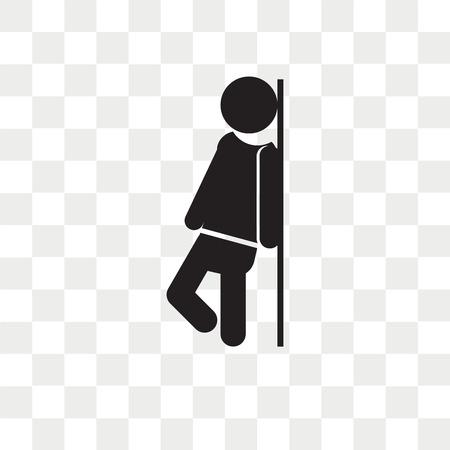 Hombre apoyado contra el icono de vector de pared aislado sobre fondo transparente, hombre apoyado contra el concepto de logo de pared