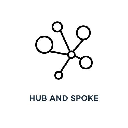 Icono de cubo y radio. Ilustración de elemento simple lineal. Concepto de conexiones diseño de símbolo de esquema, ilustración de logotipo vectorial. Se puede utilizar para web y móvil.