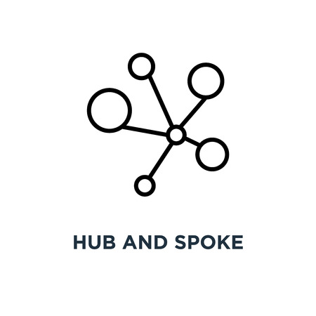 Hub and spoke icon. Linear simple element illustration. Connections concept outline symbol design, vector logo illustration. Can be used for web and mobile. Illustration