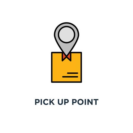 Abholpunktsymbol. Bestellung erhalten, Hände halten Box Konzept Symbol Design, Paket abholen, Lieferservice, Versand, Paketversand Vektor-Illustration