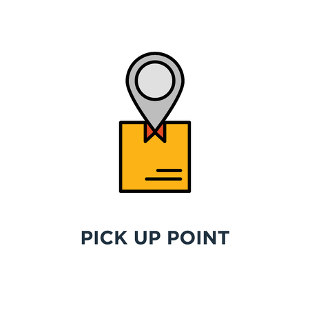 ophaalpunt icoon. bestelling ontvangen, handen met doosconcept symboolontwerp, pakket ophalen, bezorgdiensten, verzending, pakketverzending vectorillustratie