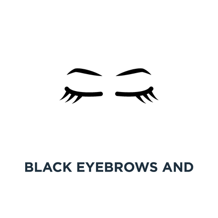 black eyebrows and eyelashes, contour style trend modern graphic art design on white, of simple emblem for microblading icon, symbol botox and permanent makeup in beauty salon concept micropigmentation