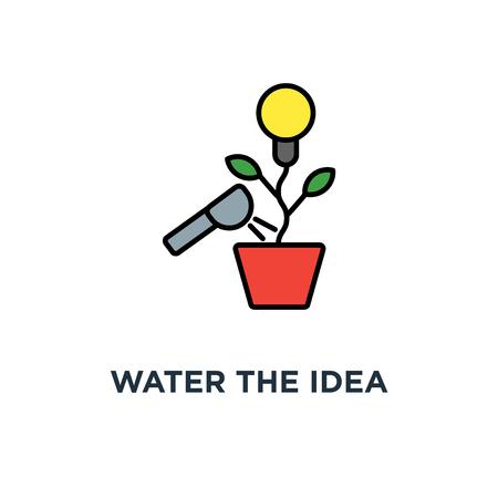 water the idea icon. the creative concept symbol design, generation of idea, the idea, lightbulb as a plant grows in a flower pot, growing ideas, creative work, innovation, outline vector Ilustração