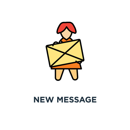 new message icon. inbox letter, cute funny woman holds a yellow envelope with notification concept symbol design, this is a new email letter, correspondence, communication, messaging, modern design,