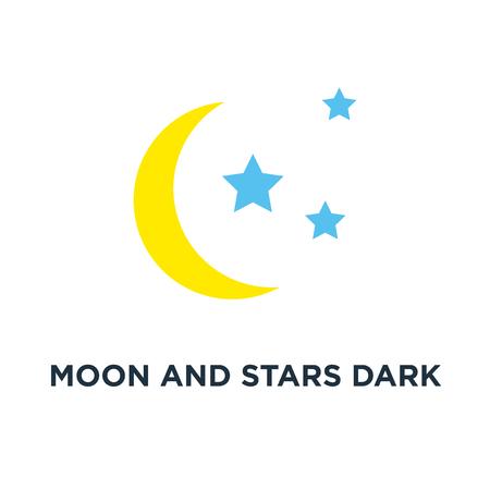 moon and stars dark night icon. graphic dark moonlight concept symbol design, vector illustration