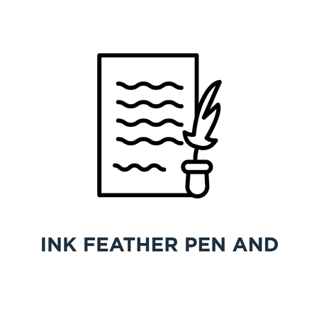 Ink feather pen and scroll paper icon. Linear simple element illustration. Write will testament concept outline symbol design, vector logo illustration. Can be used for web and mobile. Vectores