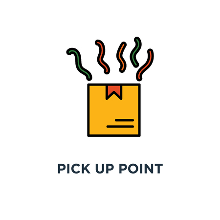 pick up point icon. receive order, hands holding box concept symbol design, collect parcel, delivery services, shipping, package shipment vector illustration