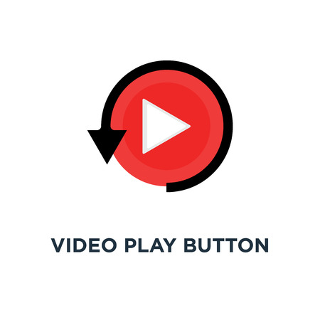 video play button like simple replay icon, symbol style trend modern red logotype graphic design concept of watching on streaming video player or livestream webinar ui emblem