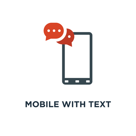 mobile with text message icon. sms, communication concept symbol design, vector illustration Illustration
