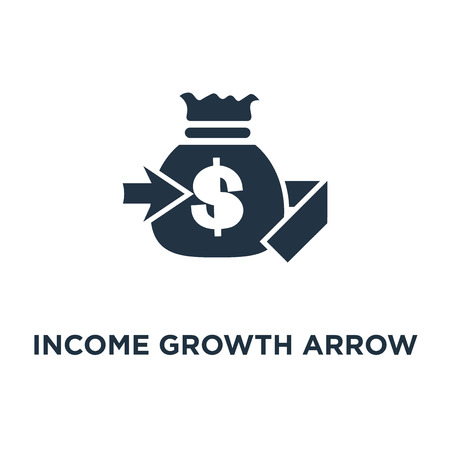income growth arrow icon. banking services, pension savings account, interest rate, fund raising concept symbol design, financial management, return on investment, budget planning, mutual fund vector illustration Illustration