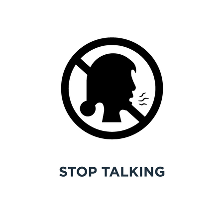 Stop talking icon. Simple element illustration. Stop talking concept symbol design, vector logo illustration. Can be used for web and mobile. 일러스트