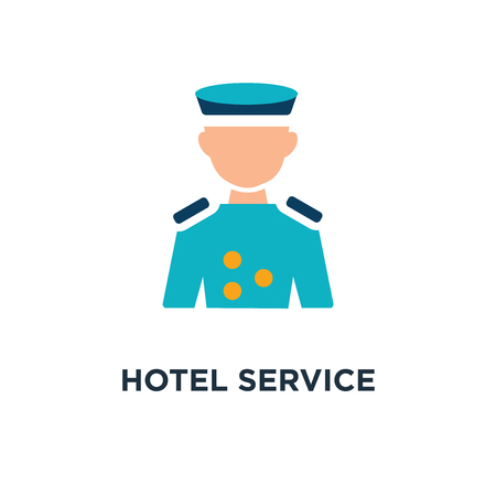 hotel service concept represented by bellboy icon. and flat concept symbol design, vector illustration