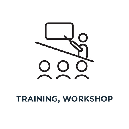 training, workshop linear sign icon. editable eps10 concept symbol design, vector illustration Vettoriali