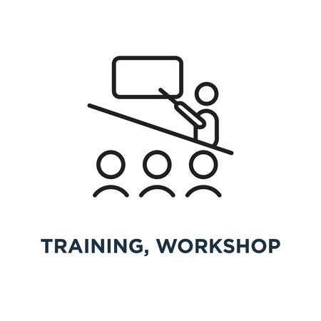 Training, Workshop lineares Zeichensymbol. editierbares eps10-Konzeptsymboldesign, Vektorillustration